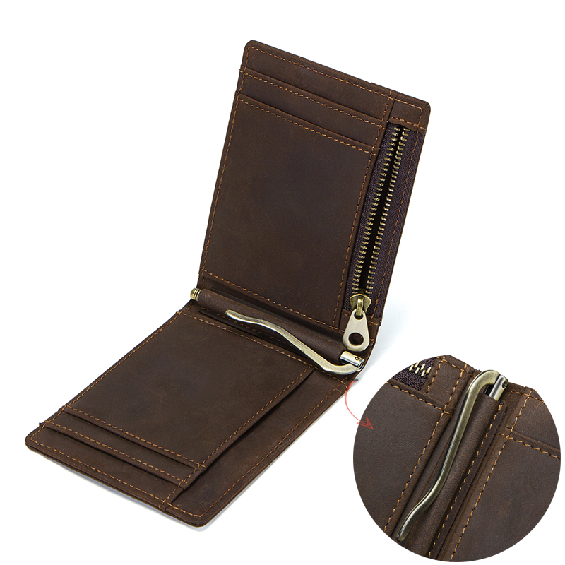 CONTACT'S Crazy Horse men RFID Genuine Leather Money Clip Card Wallet Thin Bifold cash clamp casual cash holder man coin purse 4