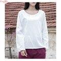 Rodada Projeto Breve Camisa de Linho De Manga Longa Pullovers Casual Mulheres Sólidos Tops T-shirt Camisa de lino