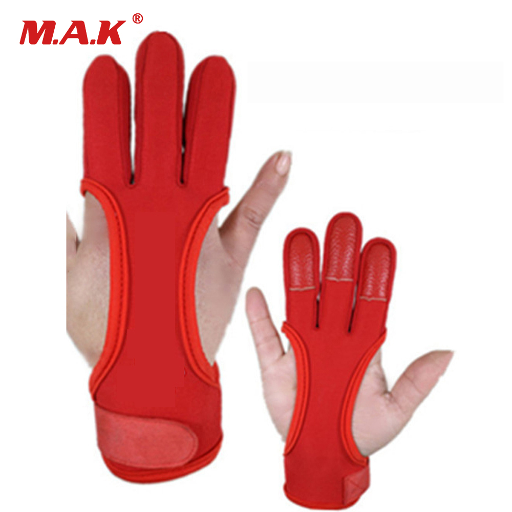 3 Finger Gloves in Black/Red 95% Polyester 5% Elastic Fiber Hand Protection Protective Gloves for Archery Hunting Shooting