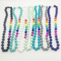 Food Grade Silicone Teething Necklace With Rainbow Beads Baby Chew Necklace Nursing Necklace