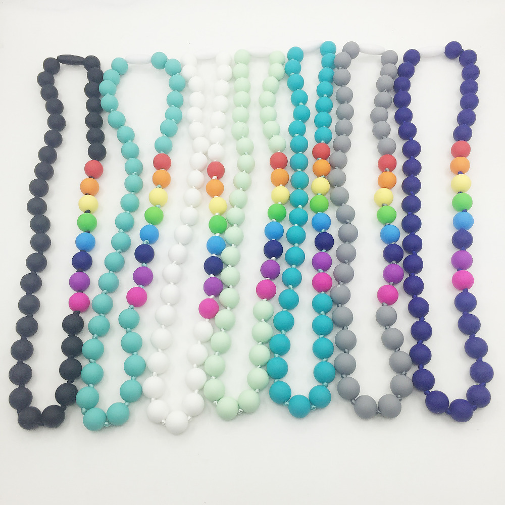 Food grade Silicone Teething Necklace with rainbow beads