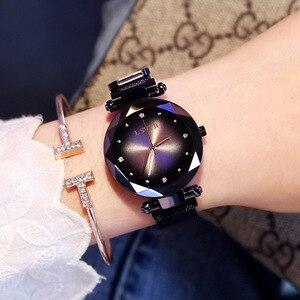 Image 4 - 2019 luksusowe różowe złote zegarki kobiety bransoletka moda diamentowa sukienka damska Starry Sky magnetyczny zegarek kwarcowy relogio feminino