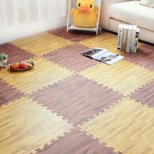 4/6/9 pcs Waterproof PVC Carpets 30cm Square Puzzle Living Room Rug Wood Grain Pattern Non-slip Floor Mats Bedroom Reduce Noise