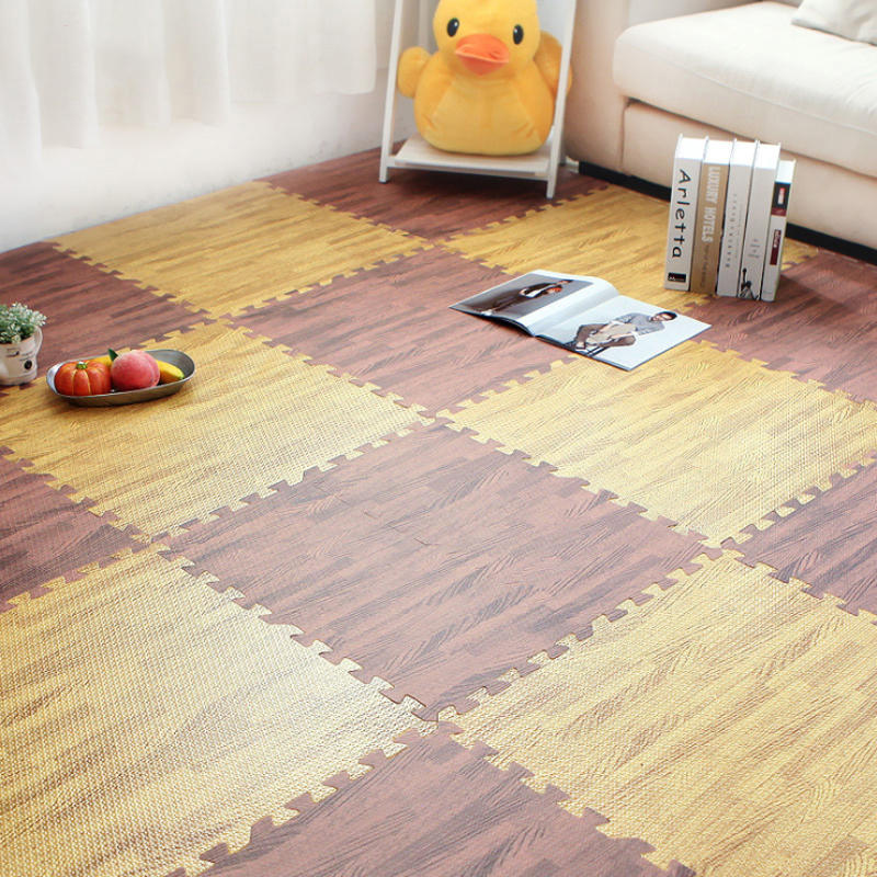 4/6/9 pcs Waterproof PVC Carpets 30cm Square Puzzle Living Room Rug Wood Grain Pattern Non-slip Floor Mats Bedroom Reduce Noise image