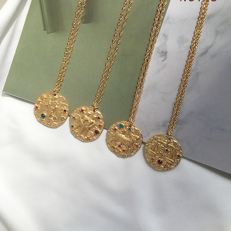 Roman Coin Zodiac Necklace Gold Color for Men and Women Best for Gift