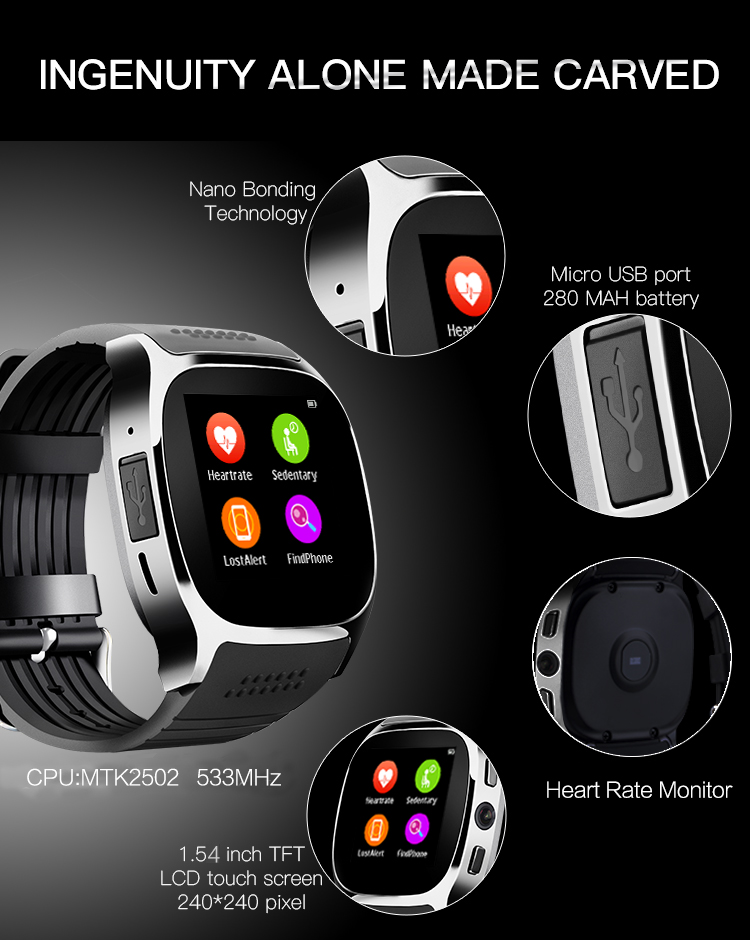 RsFow T8M Smart Watch M26 with Heart Rate Tracker Passometer Bluetooth For Men Women sports Watch support Android&IOS Phone