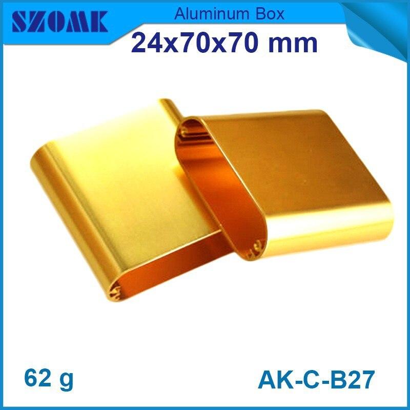 4 pcs/lot outillage d'or couleur avec Polonais personnalisé boîte de projet en aluminium bricolage électronique 24 (H) x70 (W) x70 (L) mm boitier