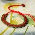 O ENVIO GRATUITO de Estilo Tibetano Fortuna-trazendo Chinês Moedas de Bronze Antigo em Fios De Seda Vermelho Pulseira Jóias Étnicas TAMANHO LIVRE