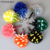 Fox fur pompom keychain Real Fox fur and rex Rabbit Fur Ball Key chains fur key ring Key Chain For Bag
