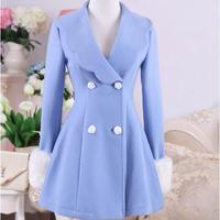 الخريف والشتاء الصوفية معطف معطف مزدوجة الصدر تنورة زرقاء