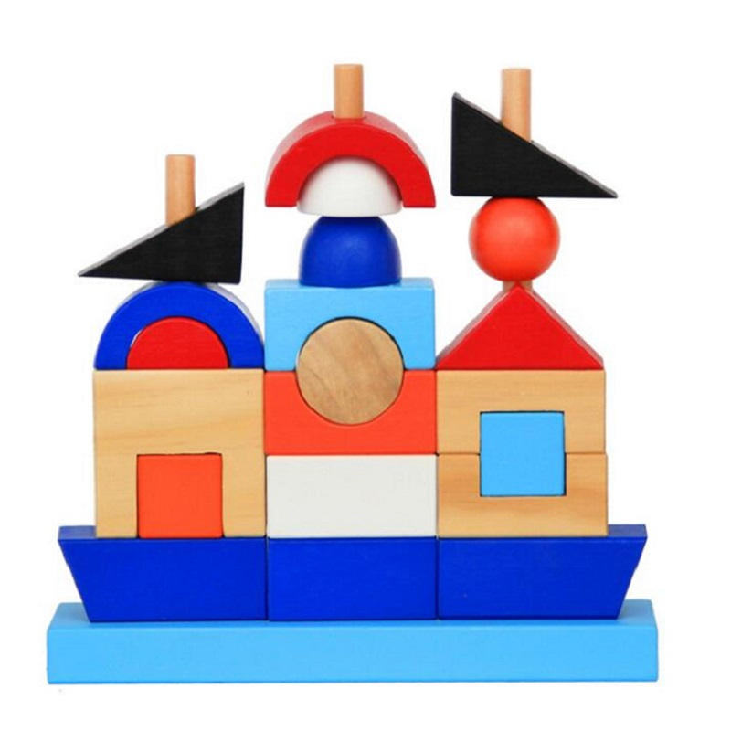 SUKIToy Wooden Toy Kid's Soft Montessori Geometric Building Blocks Set 21pcs Classic toys high quality gift for infant free shipping nordost odin 75ohm digital coaxial cable with wbt 0144 rca plug