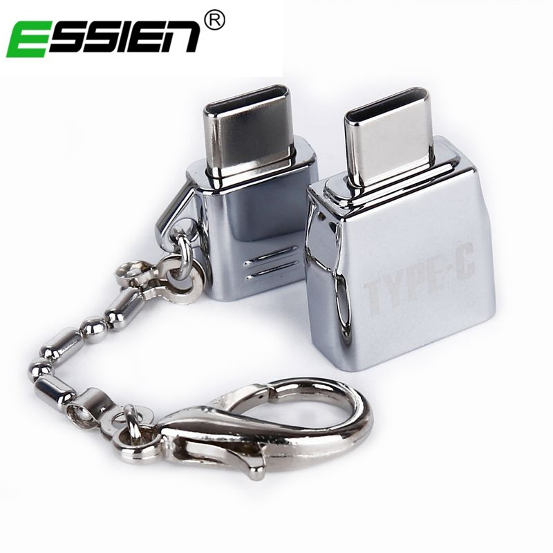 Keychain Micro Usb Male To Type-C Microusb To Type C Converter Adapter Kits OTG Data Sync Charging Adapter For Samsung Huawei