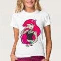 Creativo Diseño de La SIRENA punky lindo de la princesa Mujeres de La Camiseta 100% de Algodón de Manga Corta T-Shirt de Impresión O-Neck Tee S-XL