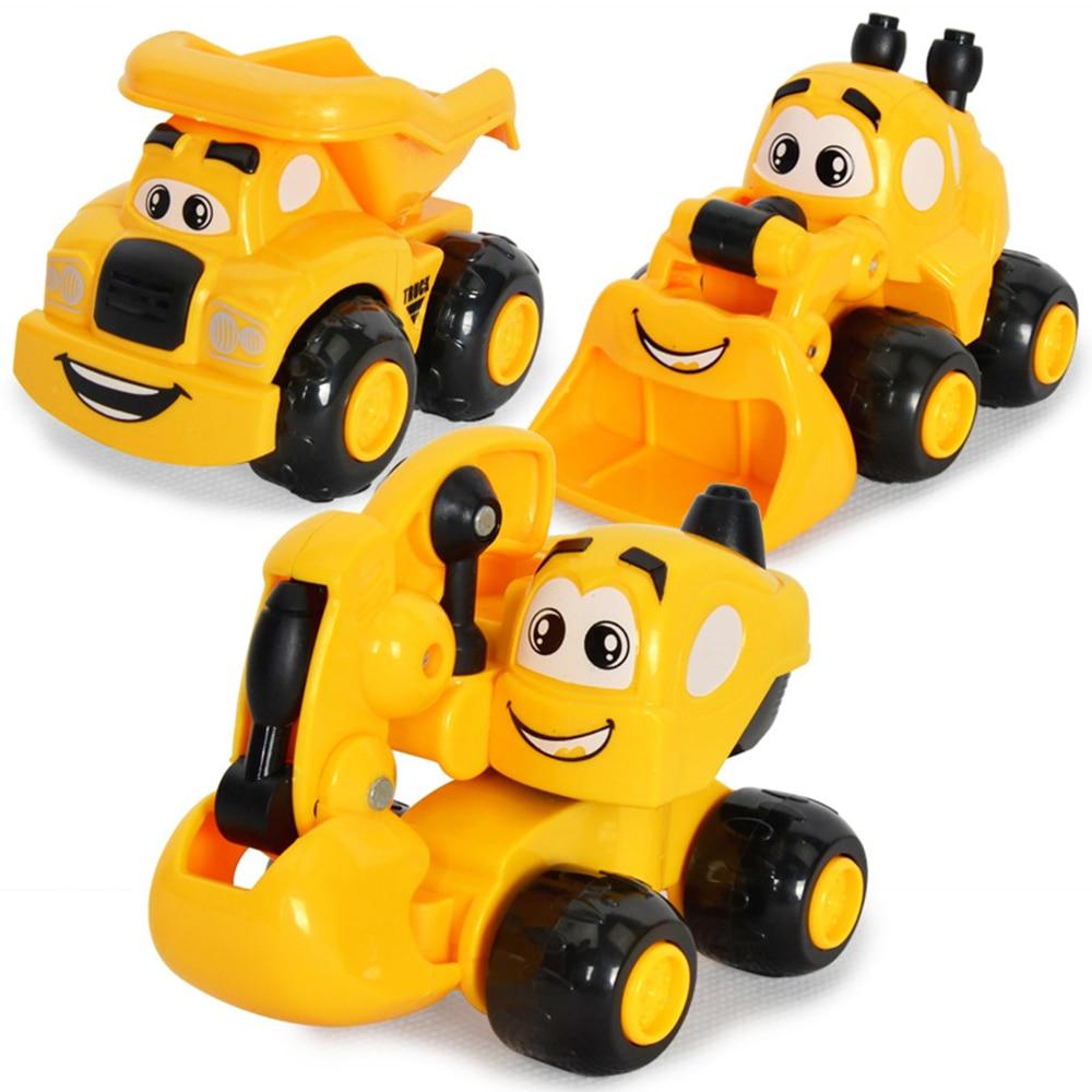 2019 New Kawaii Mini Cartoon Engineering Vehicles Inertial Car Excavator Sand Truck Forklift Model Children Best Gifts Toy
