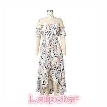 Summer white ruffles short sleeve beach dress Women 2018  Boho floral print  maxi dress Sexy off shoulder backless party dresses