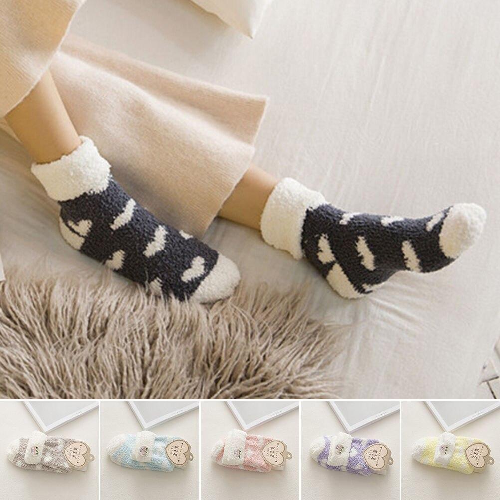 Women's Socks & Hosiery Well-Educated 1 Pair Hot Sale Women Plush Love Heart Socks Autumn And Winter Thickening Coral Fleece Towel Socks Floor Socks 6 Colors