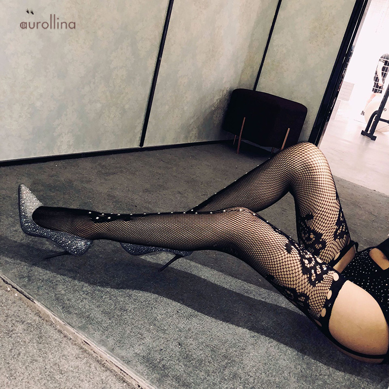 Crystal Flickering Glittering Rhinestone Beads Stocking Pantyhose Open Crotch MILF Crotchless Garter Belt Mimic Lace Stocking in Stockings from Underwear Sleepwears