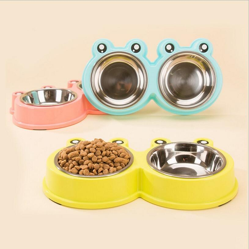 NEW Cartoon Stainless Steel Pet Double Dog Bowl Puppy Cat Durable Water Dish Feeder Leak Proof Dog Bowls Pet Products 3 Color
