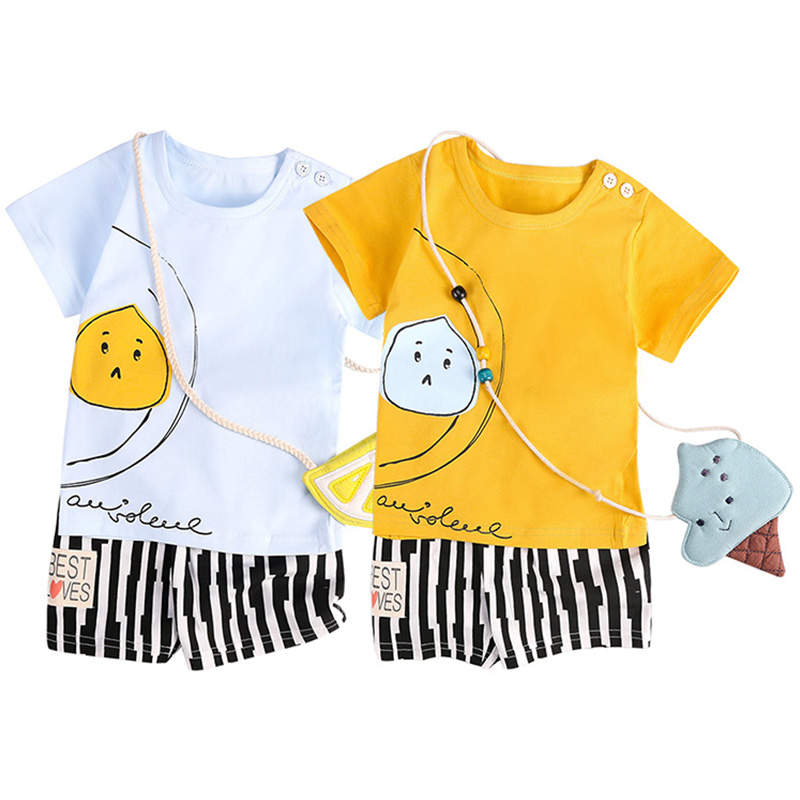 e3d46c424eb8 2018 Νέο καλοκαίρι Baby Boys Ρούχα Σέτ Μωρά Αγόρια Βαμβάκι T-Shirt + ...
