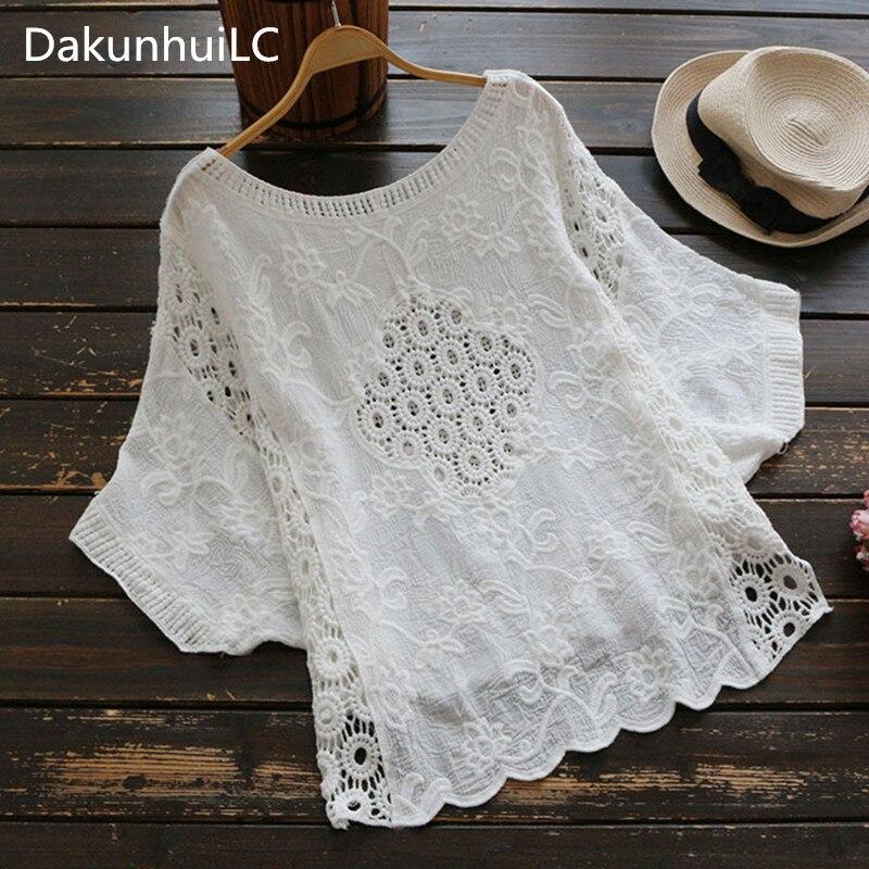 Chic Bohemian Casual Batwing Short Sleeves Crochet Cropped Crop Shirt Top Tee