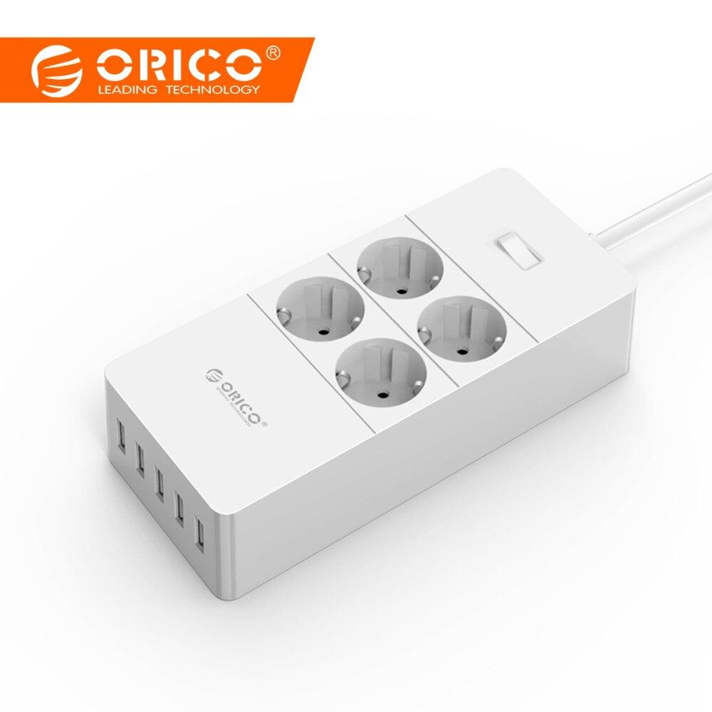 Proteção contra surtos Carregador USB, ORICO eletrodomésticos 4 Strip1.5 Medidor de Energia AC UE Power Cord com 5 Portas USB Estação De Carregamento