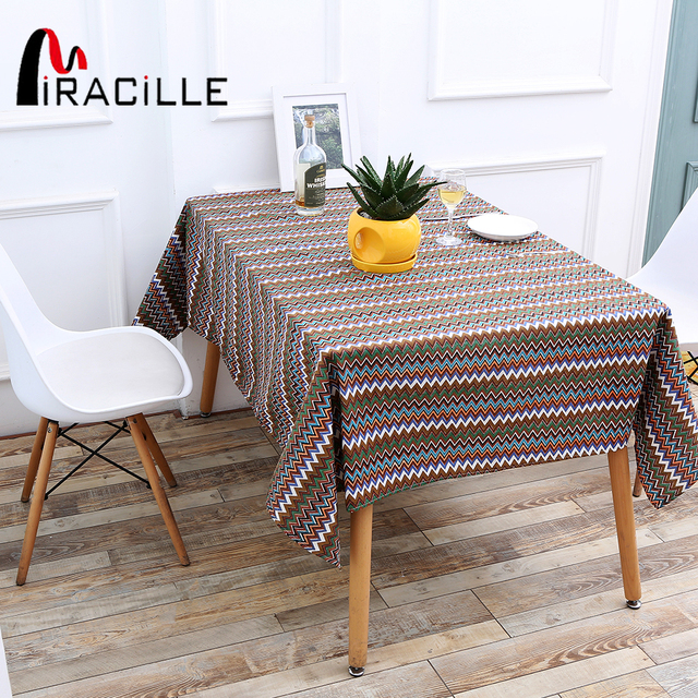 Miracille Cotton Linen Ethnic Waves Printed Boho Style Dining Table Cloth  Rectangle Coffee Fabric Table Cover