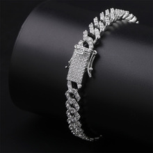 TOPGRILLZ Hip Hop Iced Out Bling CZ Men Bracelet fashion 7 8 9 inch long Miami Cuban Chain bracelets male Hiphop jewelry gifts