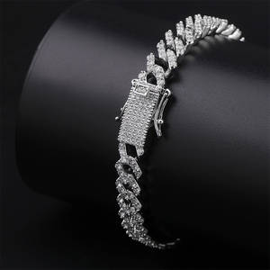 TOPGRILLZ Cuban Chain Bracelets Jewelry Gifts Hiphop Iced-Out Long-Miami Bling Fashion