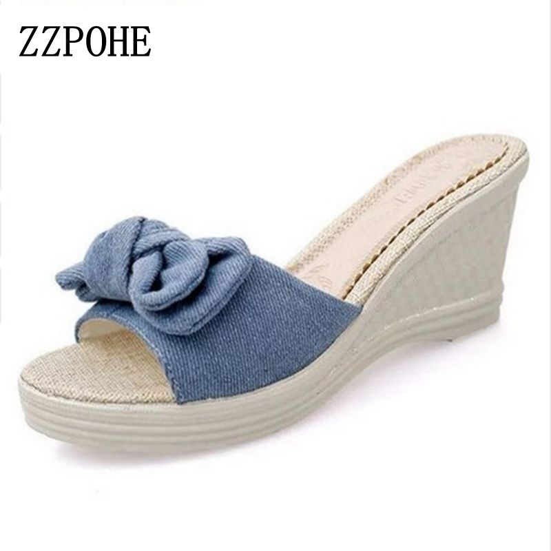 ZZPOHE Summer Women Slippers Fashion High Heel Slippers beach Comfortable Female slippers casual woman Sexy slippers Plus Size