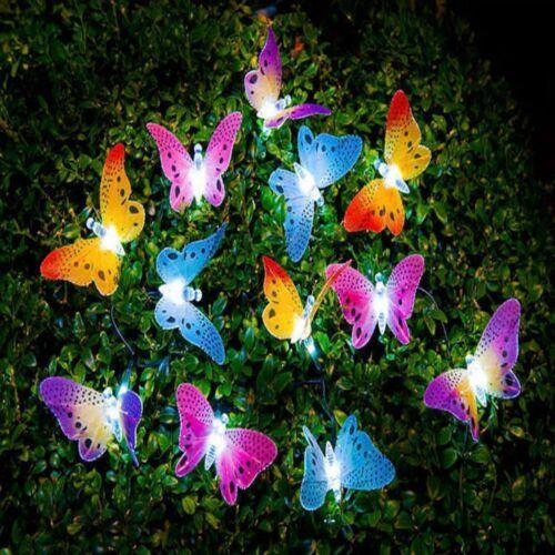 12 Led Solar Powered Butterfly Fiber Optic Fairy String Outdoor Garden Lights US
