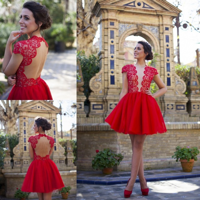 2015 Backless Red Lace Cap Sleeves Homecoming Dresses Sexy Deep V-neck 8th  Grade Prom Dresses Short Party Gowns HY018 234745514