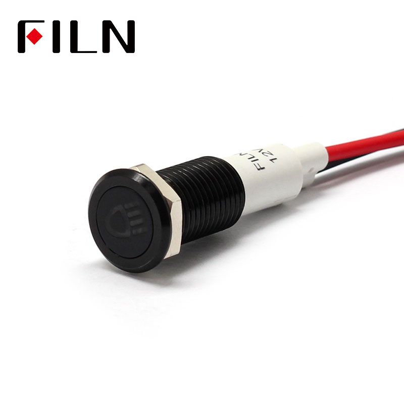 FILN 10mm Car Dashboard Headlamp Symbol Led Red Yellow White Blue Green 12v Led Indicator Light With 20cm Cable