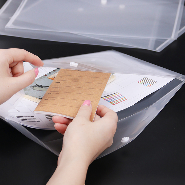 1PC Office A4 File Bag Transparent Plastic Thicken Button Closure Folder Filing Products Office School Supplies 5