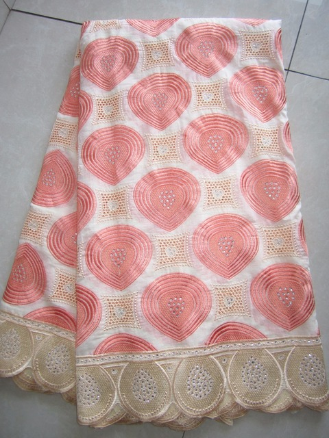 Peach Color Cotton Voile Lace High Quality African lace with Stones 5Yards Super Quality Cream Border