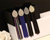 Statement Artificial Diamond Tassel Long Evening Earrings Korean Luxury Jewelry Wholesale Brincos Femininos Boucle D Oreille