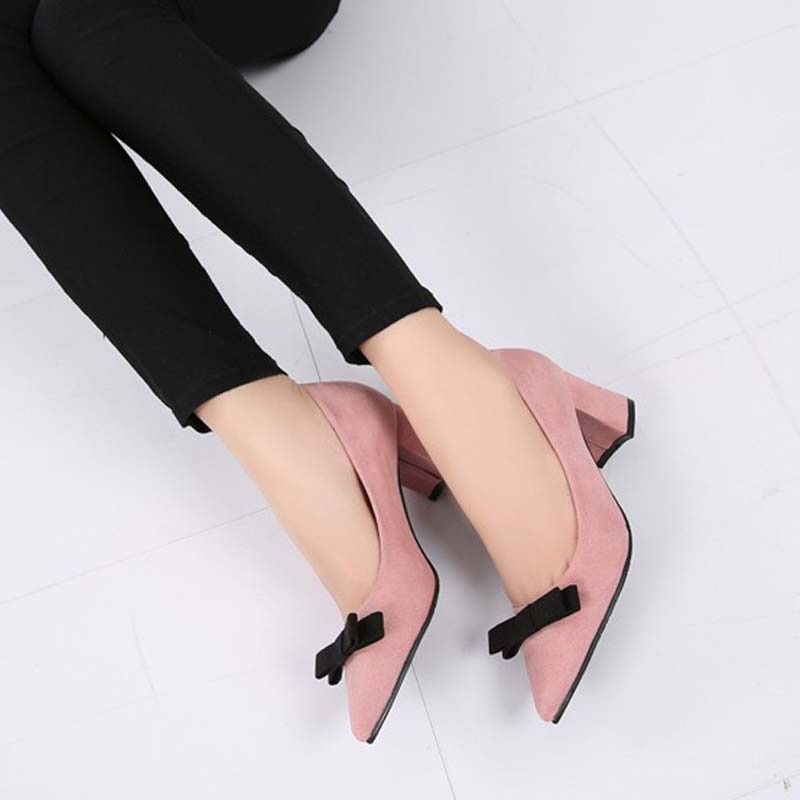 2017 new fashion flock high heels women pumps spring autumn sweet bowtie thick high heeled pointed toe party wedding dress shoes 2017 new spring summer shoes for women high heeled wedding pointed toe fashion women s pumps ladies zapatos mujer high heels 9cm