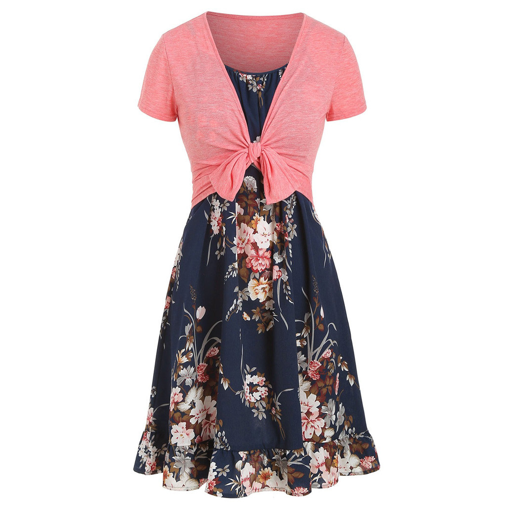 JAYCOSIN 2020 New Summer Women Suit Sexy Casual Camis Vintage Flower Print Ruffles Dress With Solid Crop Top Combination 9042926