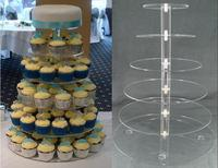 Hot selling 6 Tier Ronde Acryl Etagere Voor Wedding Perspex Display Cupcake Stand decoratie