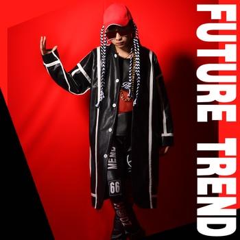 S-5xl 2020 New Men's Clothing Singer Fashion Slim Dj Collage Pu Long Cloak Trench Coat Men Plus Size Costumes