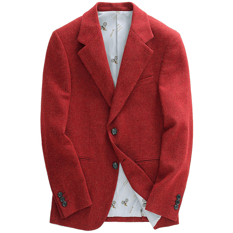 Men Blazer 38% Wool High Quality Red Single Breasted Casual Slim Fit Autumn Winter Men Clothes 2018 Retro Mens Blazers Plus Size