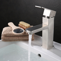 Fashion Square Basin Faucet Stainless Steel 304 Brushed Bathroom Faucets Hot And Cold Control Water Taps