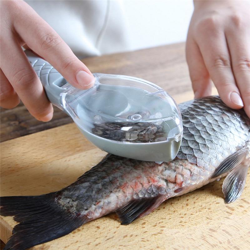 Portable  Fish Skin Brush Scraping Lightweight Fishing Scale Cleaning Peeler Scaler Scraper Brush Fast Remove Mackerel Scale