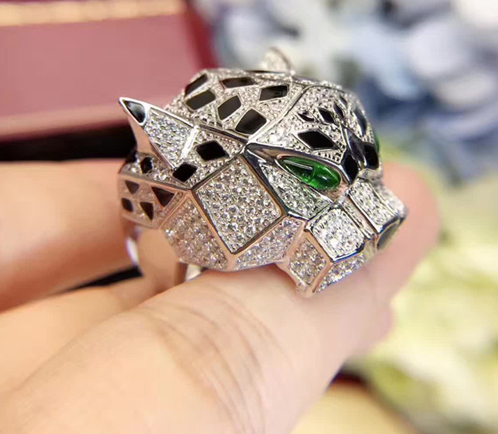925 Sterling Silver Jewelry Panther Ring Luxury Full