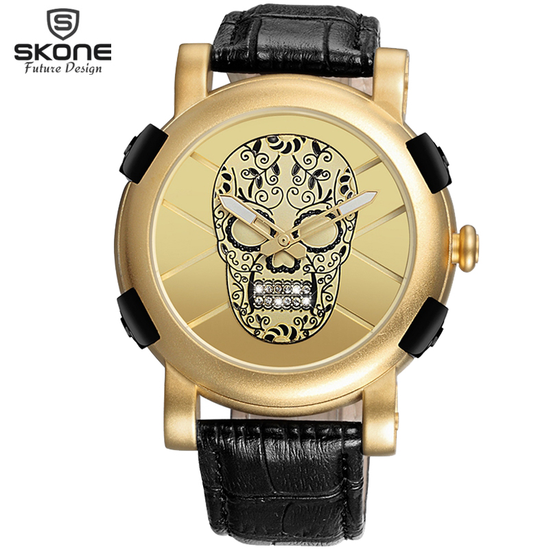 New Arrival SKONE Unique Pirate Skeleton Skull Quartz Men Watches Luxury Waterproof Leather Men Sports Watch Relogio Masculino skone genuine pirate skull style quartz men watches brand men military leather men sports watch waterproof relogio masculino