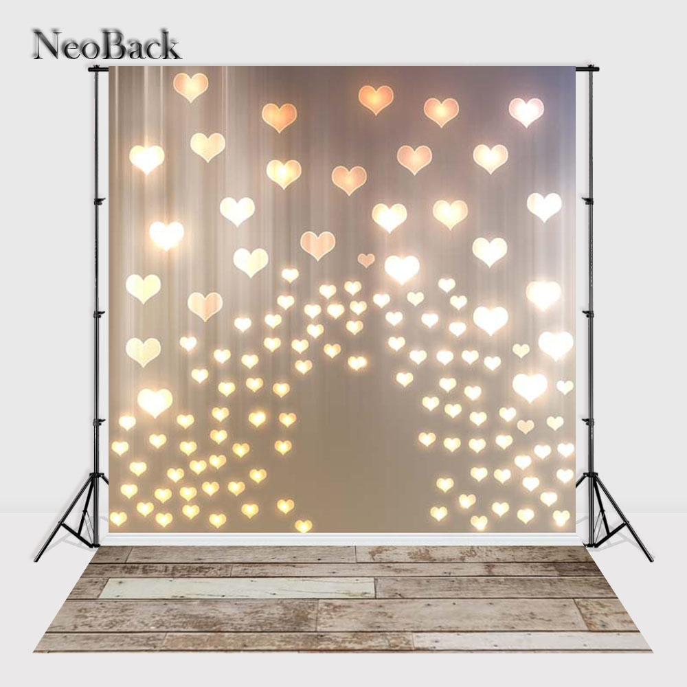 NeoBack Vinyl cloth Glittering Heart Photographic Backdrop Children Kids Backdrops Printed Studio Love Photo backgrounds P2176