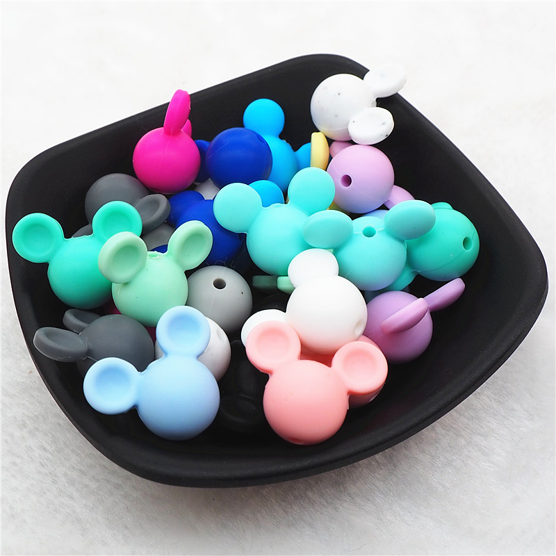 Chenkai 20pcs Silicone Mouse Teether Beads DIY Animal Mickey Baby Pacifier Teething Montessori Sensory Jewelry Making Toy Beads