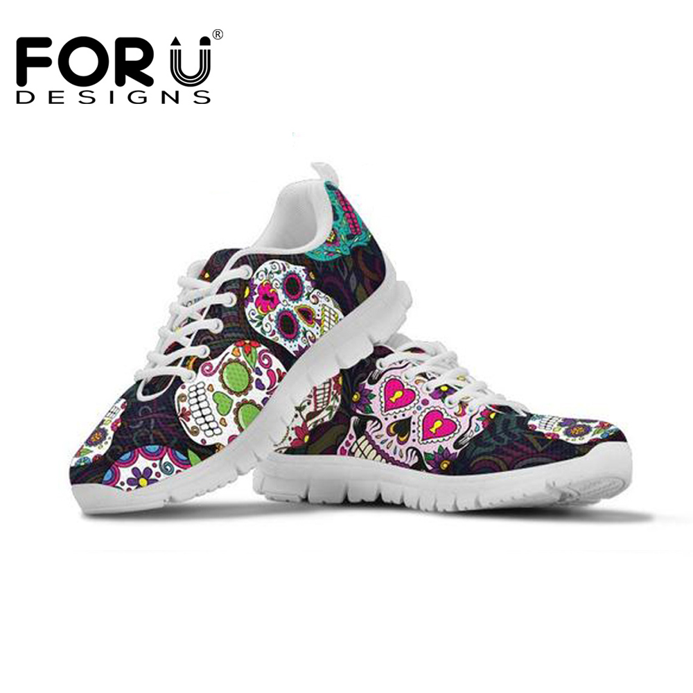FORUDESIGNS Shoes Woman Trendy Sugar Skulls Women's 3D Print Sneakers Women Flats Shoes Casual Lightweight Lacing Student Shoes