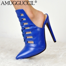 Новое поступление 2017 года плюс большие размеры 34–47 синий модные, пикантные на высоком каблуке Демисезонный девочек Женская Сабо женские туфли-лодочки D1172