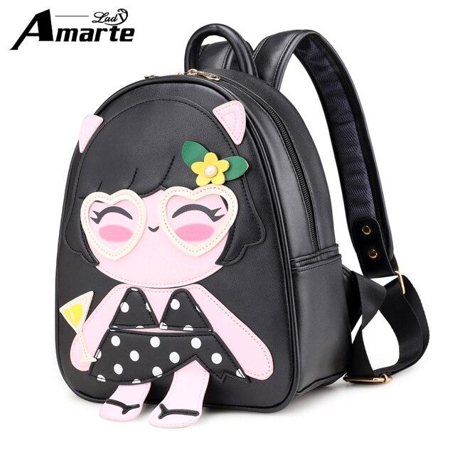 83c6cfd344 Amarte New Fashion 2018 Travel Backpack Korean Women Female Rucksack  Leisure Student School bag Soft PU