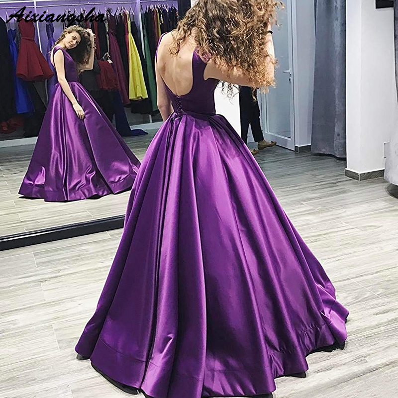 Simple Purple Evening   Dresses   Simple Ruched Satin Backless Ball Gown Elegant Long Evening Gowns Party   Prom     Dress